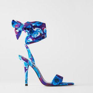 NWT Zara Floral Print Heeled Sandals